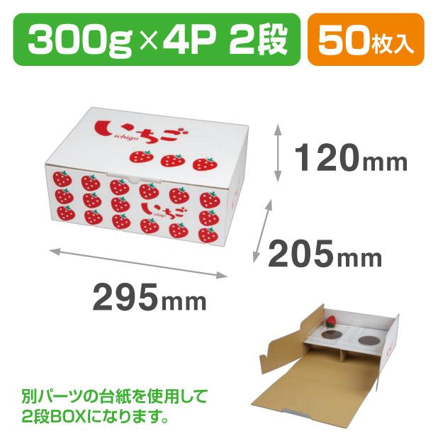 L-2503 イラストいちご平詰め300g4P 2段BOX